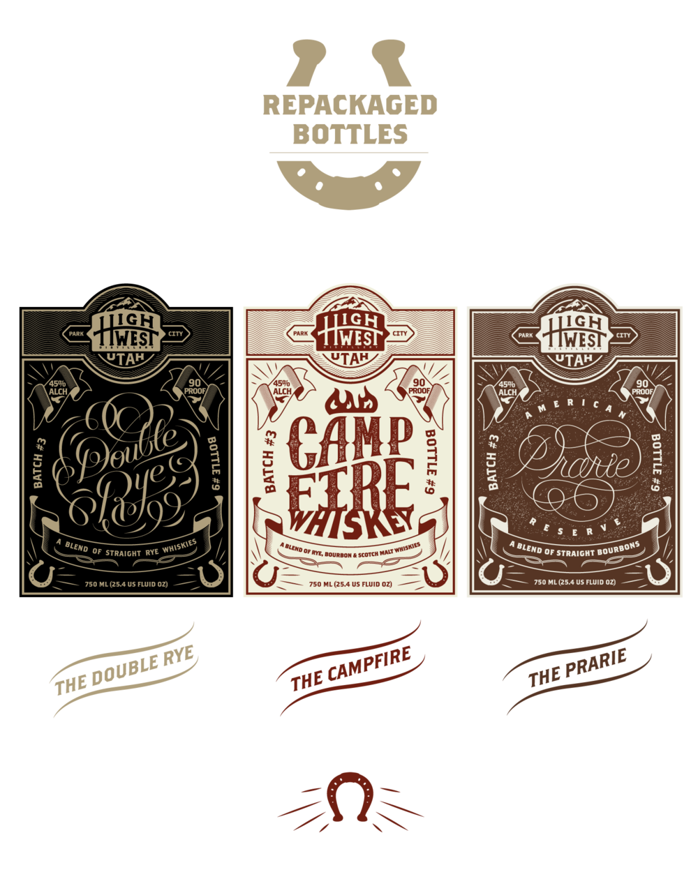 Hypothetical rebranding for a Utah distillery. Includes
