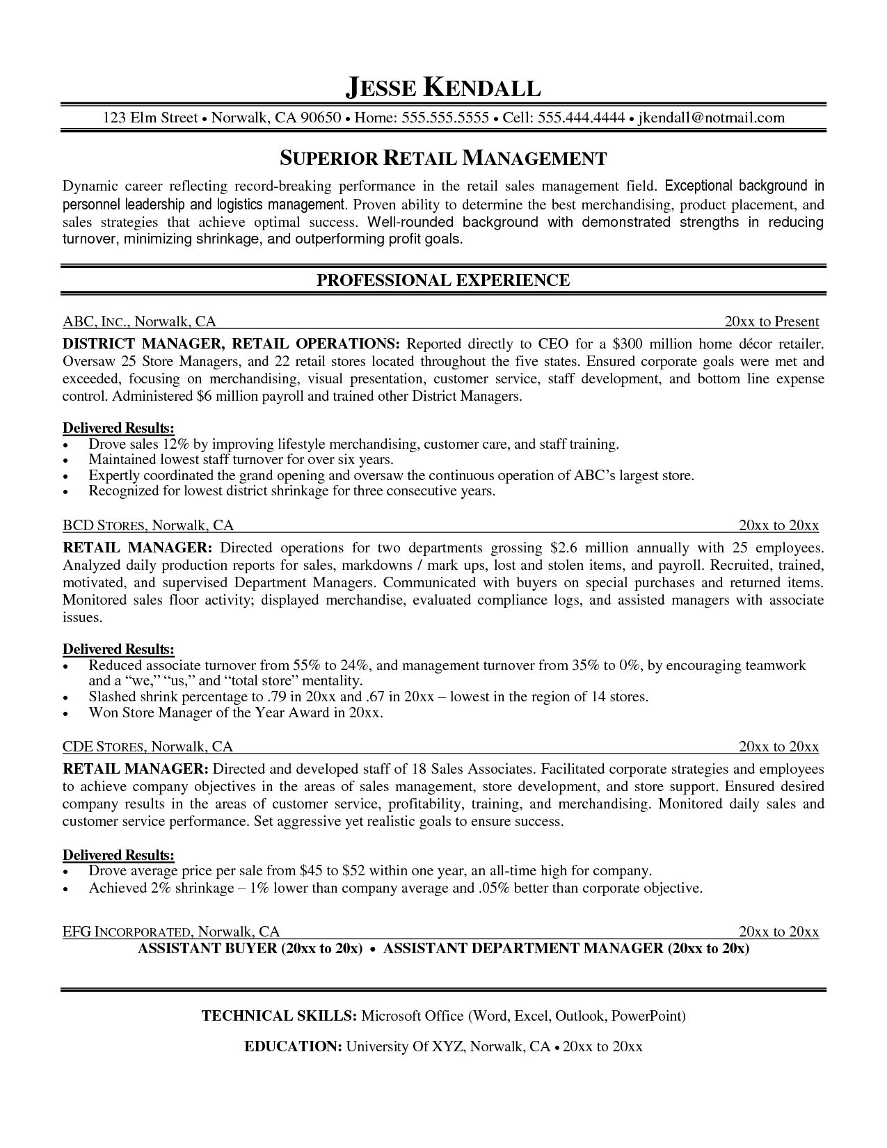Retail Resume Template Resume Example Retail Sample Cover Letter Samples For Templates