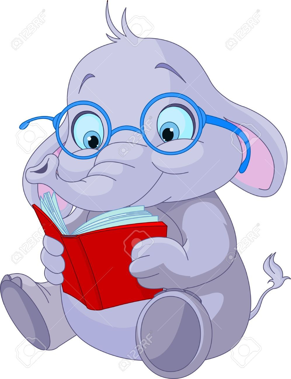 Cute Elephant With Glasses Reading A Book Royalty Free Cliparts ...