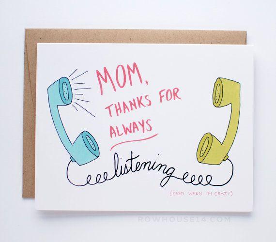 Las madres divertido día - día de la madre tarjeta - tarjeta para mamá - mamá gracias por siempre escucharme aun cuando estoy loco -A2 (4.25 x5.5)