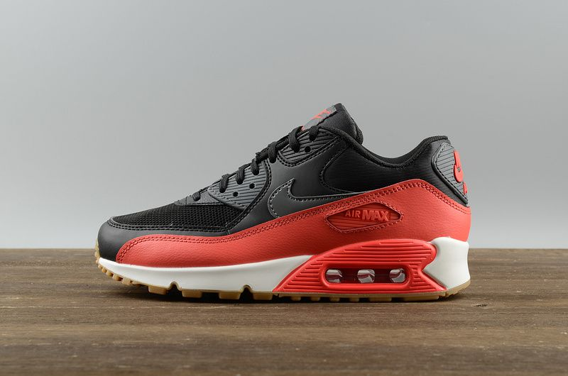 2018 Cheapest Nike WMNS Air Max 90 616730-025 Black Dark Grey-Bright Crimson 6d366486f