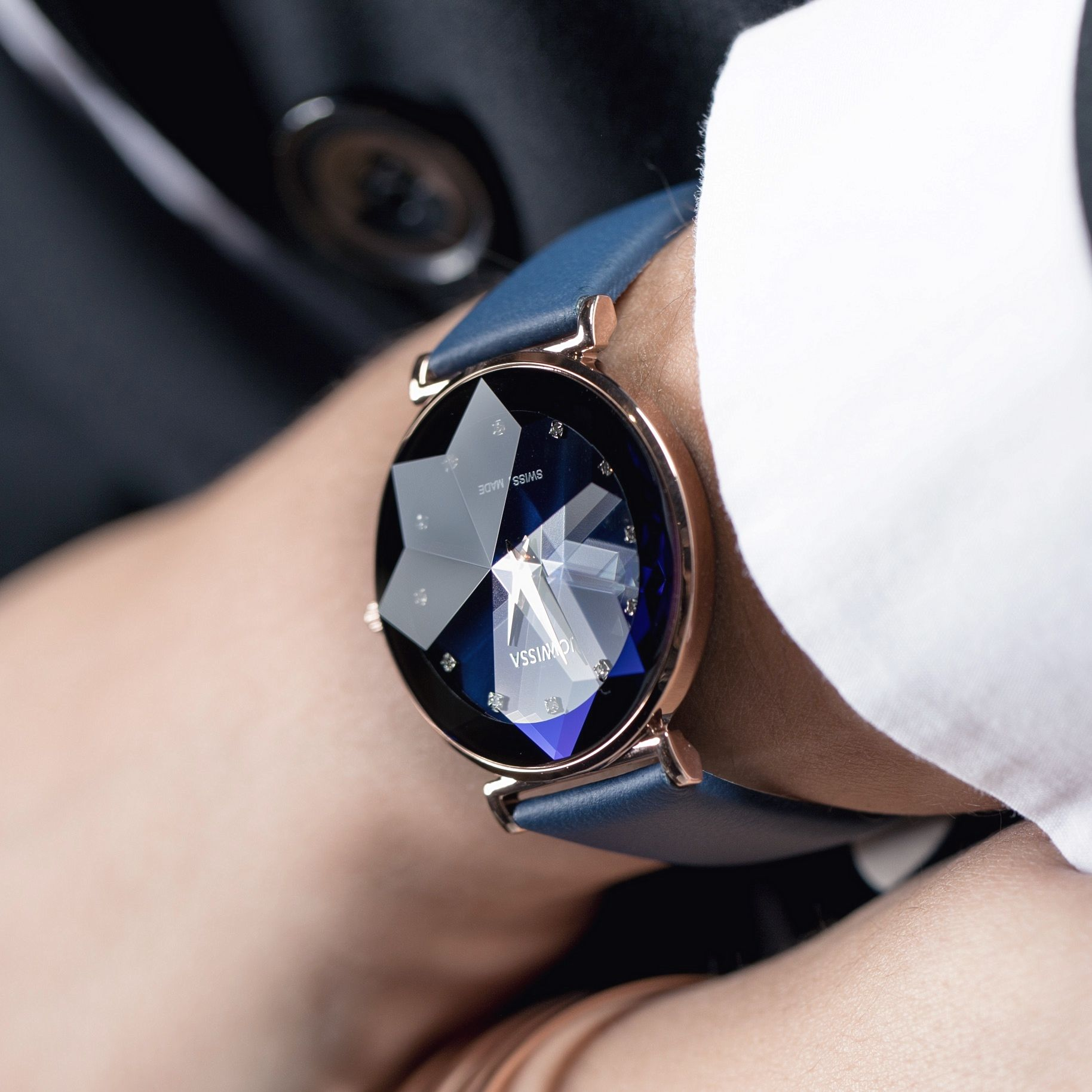 a86c1eff454 Add some shine to your wrist with our blue Facet. - Jowissa watch ...