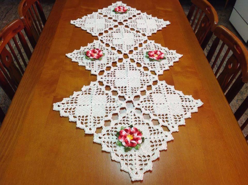 Cores e agulhas caminho de mesa em croch trilhos for Camino de mesa a crochet