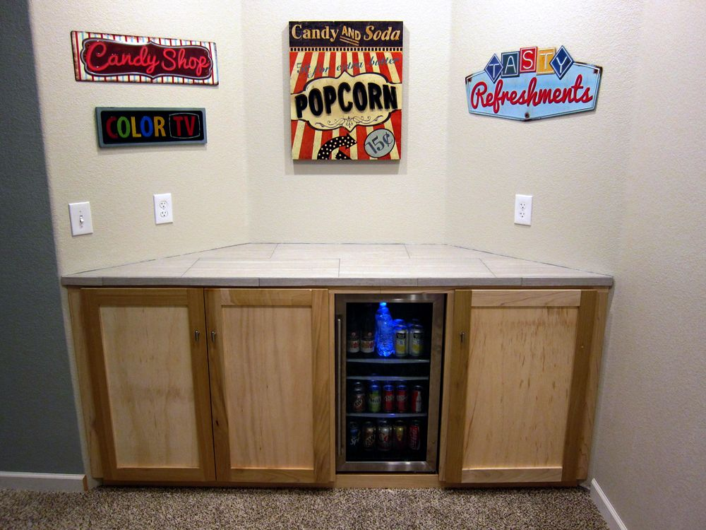 Custom Media Bay Cabinet In The Basement Home Theater. Houses The A/V  Equipment