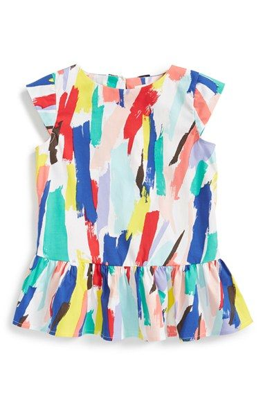 kate spade new york kids 'brush stroke' peplum top (Toddler Girls & Little Girls) available at #Nordstrom