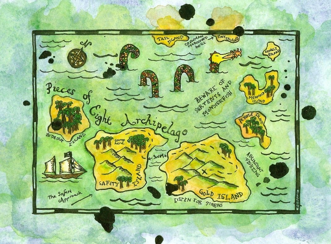 Watercolour Treasure Map