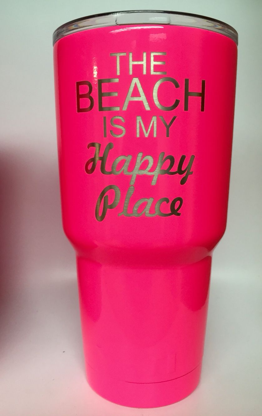 Neon Pink Powder Coat And Laser Engraving Personalized