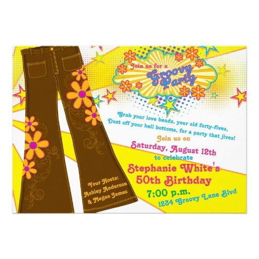 70s Theme Groovy Bell Bottoms 50th Birthday Party Invitation | Zazzle.com #70sthemeparties