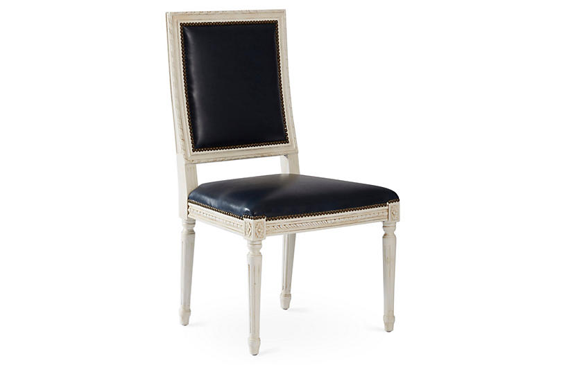 Exeter Side Chair Navy Leather