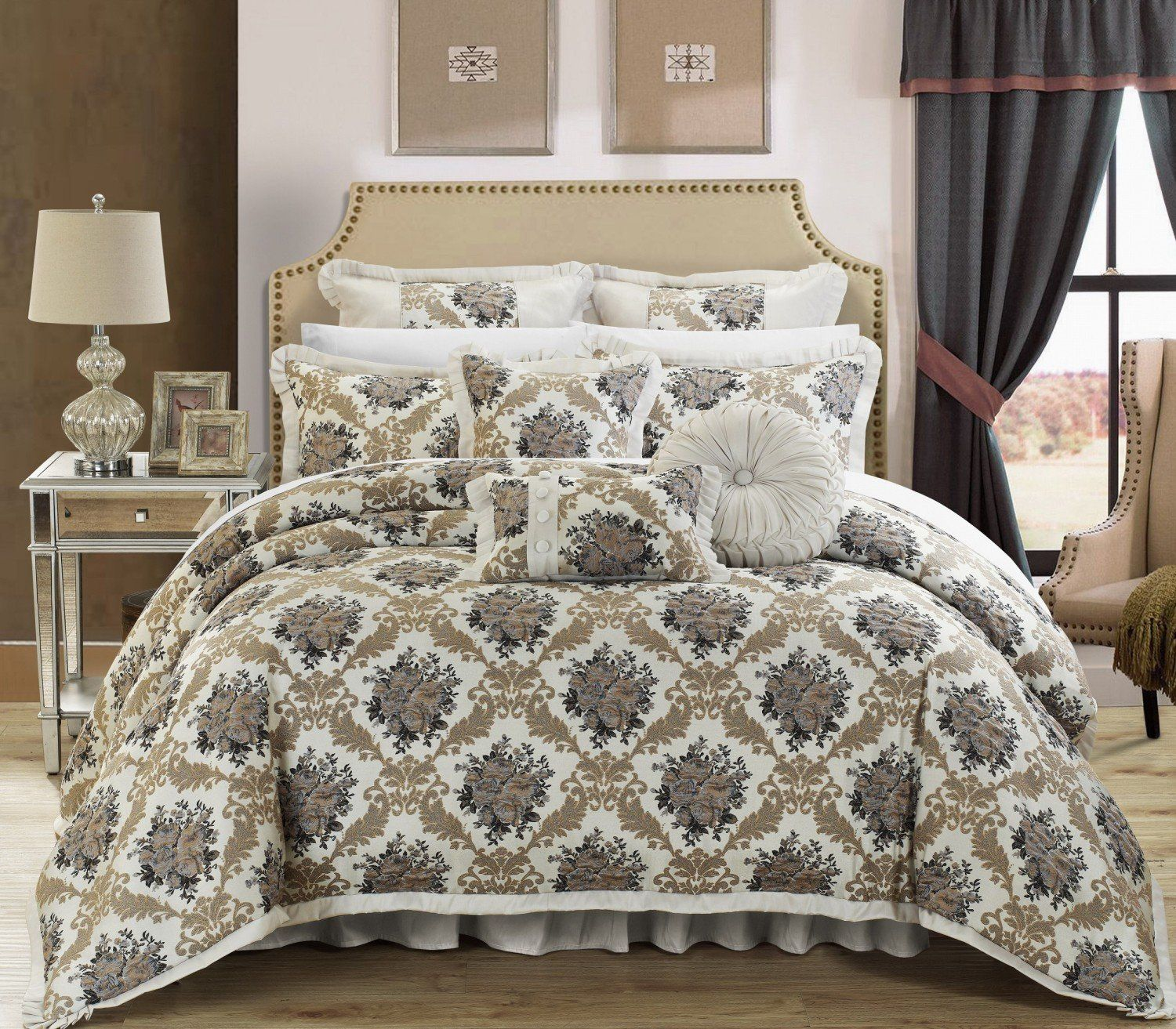 zanotti silver today product bath shipping home comforter overstock floral piece bedding fabric set free chic jacquard