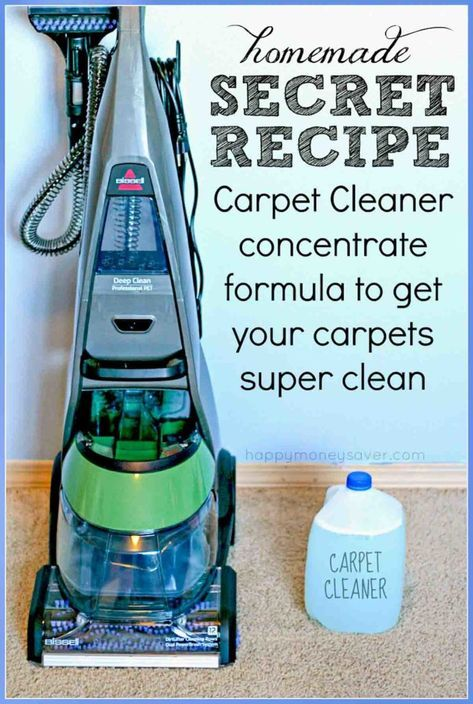 Easy Homemade Carpet Cleaning Solution for Machines! Secret formula that really works. Costs $1/Gallon - Gets the stains out! Amazing & Easy to make! happymoneysaver.com #carpetcleaner #diy #homemadecleaner #cleaning