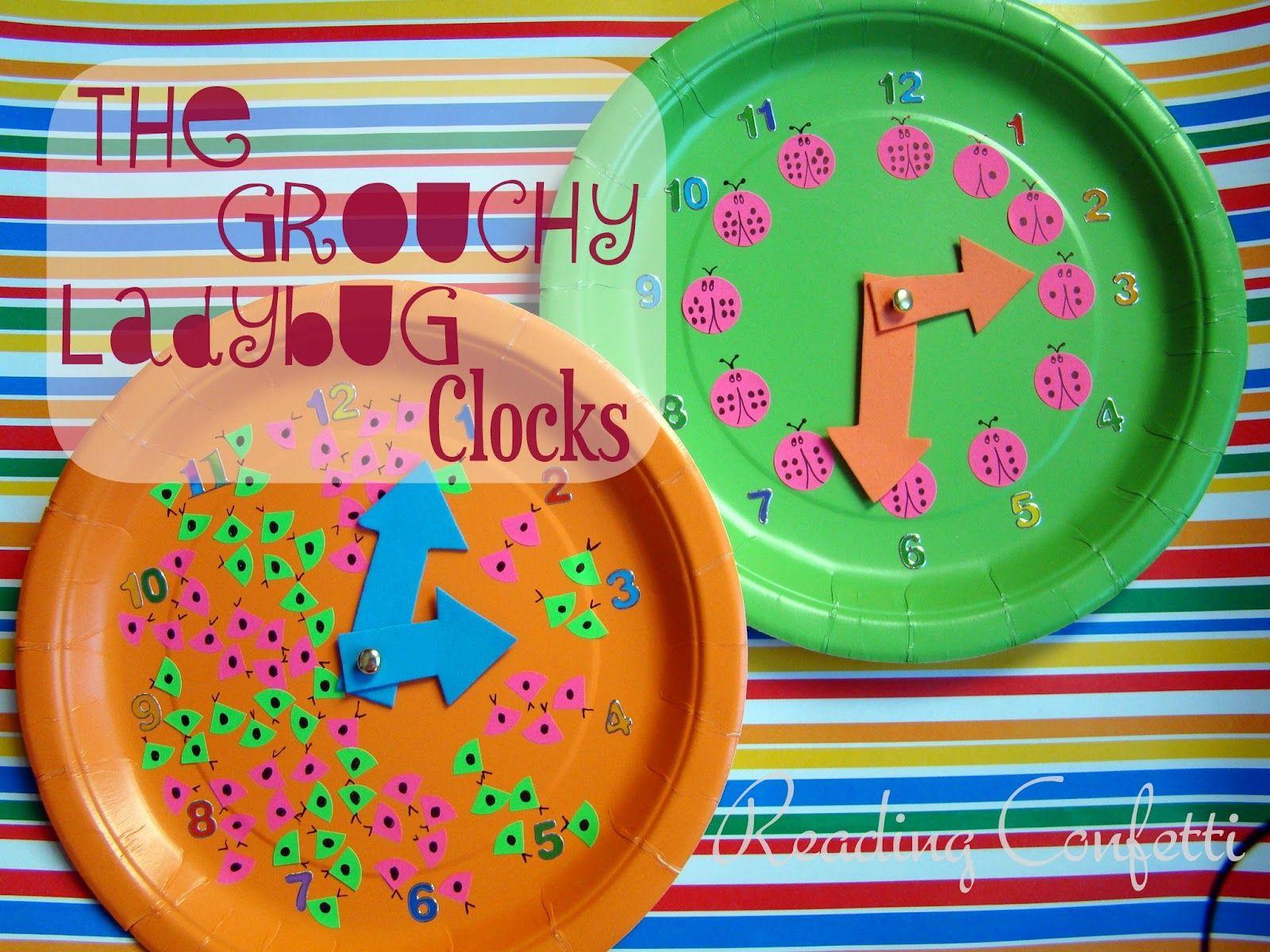 Grouchy Ladybug Clocks & Eric Carle Link Party ~ Reading Confetti