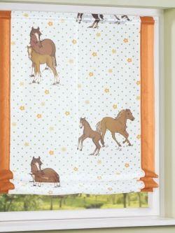 Awesome Zarter Raffrollo mit s en Pferde Design f r das Kinderzimmer Gardinen Outlet