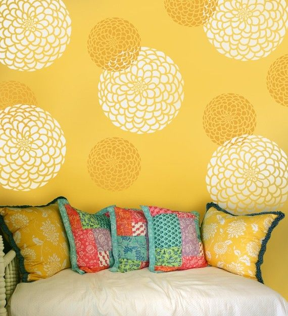Thinking of stenciling zinnia\'s on concrete wall in back of house ...