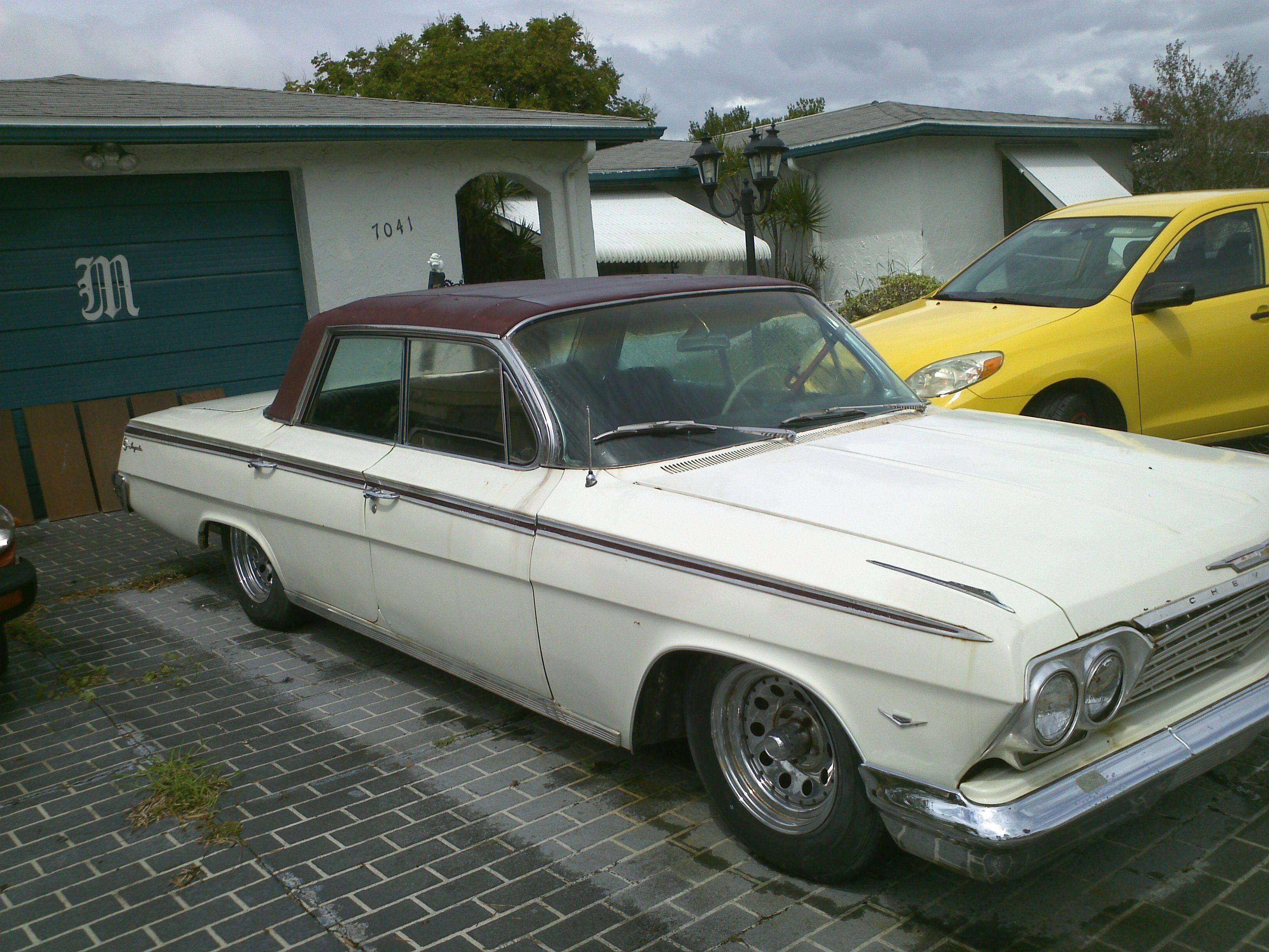 62 Chevy Impala 4 Dr Ratrod White With Maroon Vinyl Top 283 V8 With Power Glide Auto Transmisson 45599 Miles She Needs S Chevy Impala Impala Rat Rod