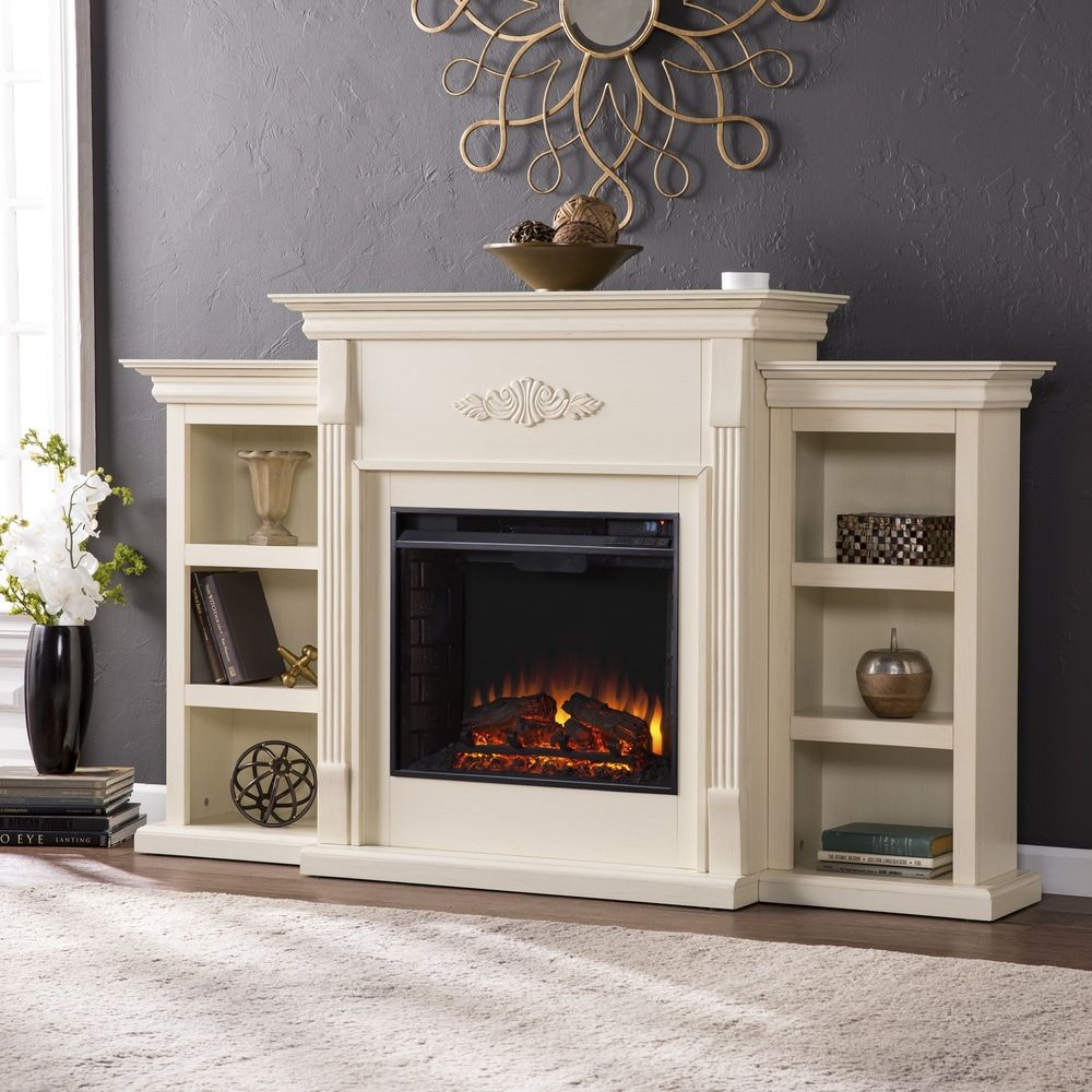 Gracewood Hollow Forbes 70 Inch Ivory Electric Fireplace Ivory