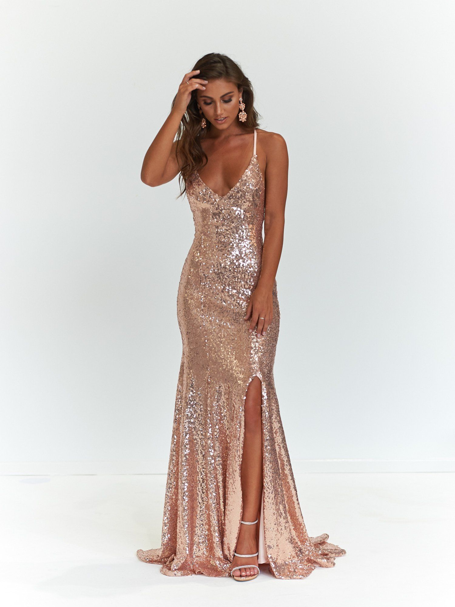 Aun kara sequinned gown w slit rose gold in prom dresses