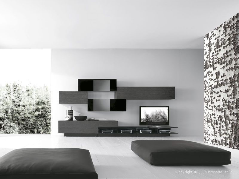 Modern Living Room Black And White futuristic and sci-fi like living room design in italian concept