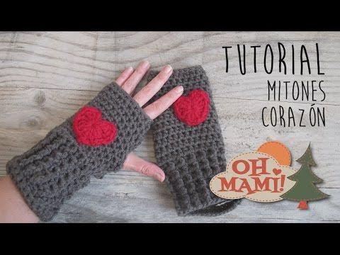 Mitones o guantes sin dedos a crochet con Corazones - YouTube ...
