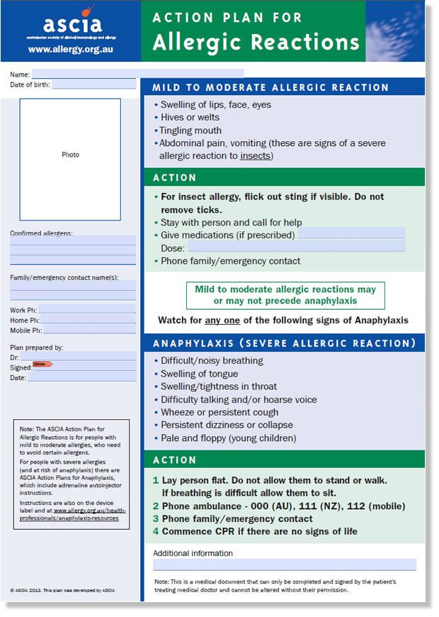 ASCIA Action Plan for Allergic Reactions (personal) School Nurse - action plans templates