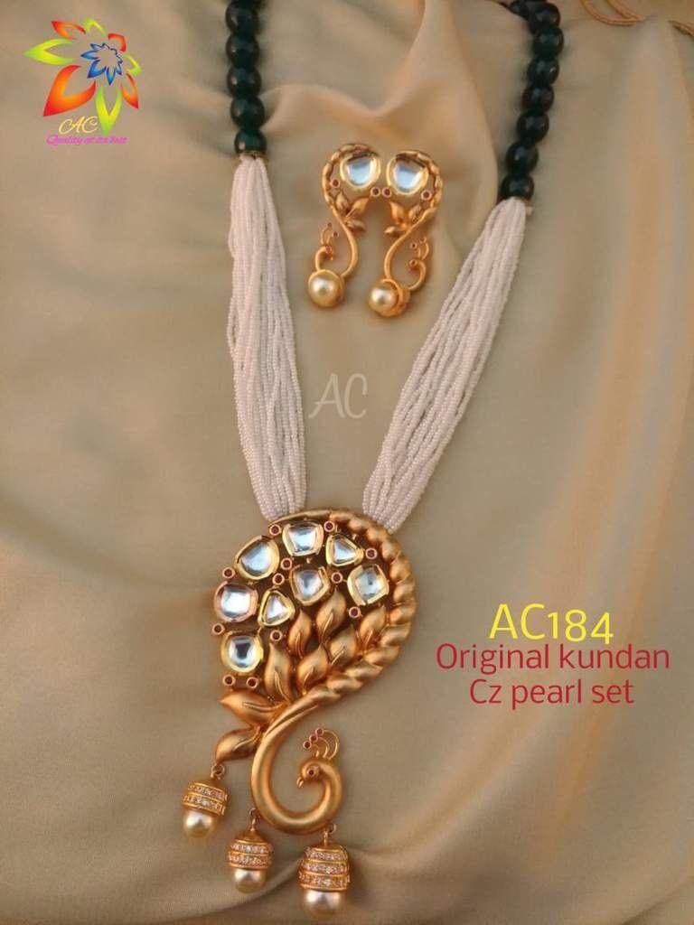 White and green beads kundan work pendant set accessories