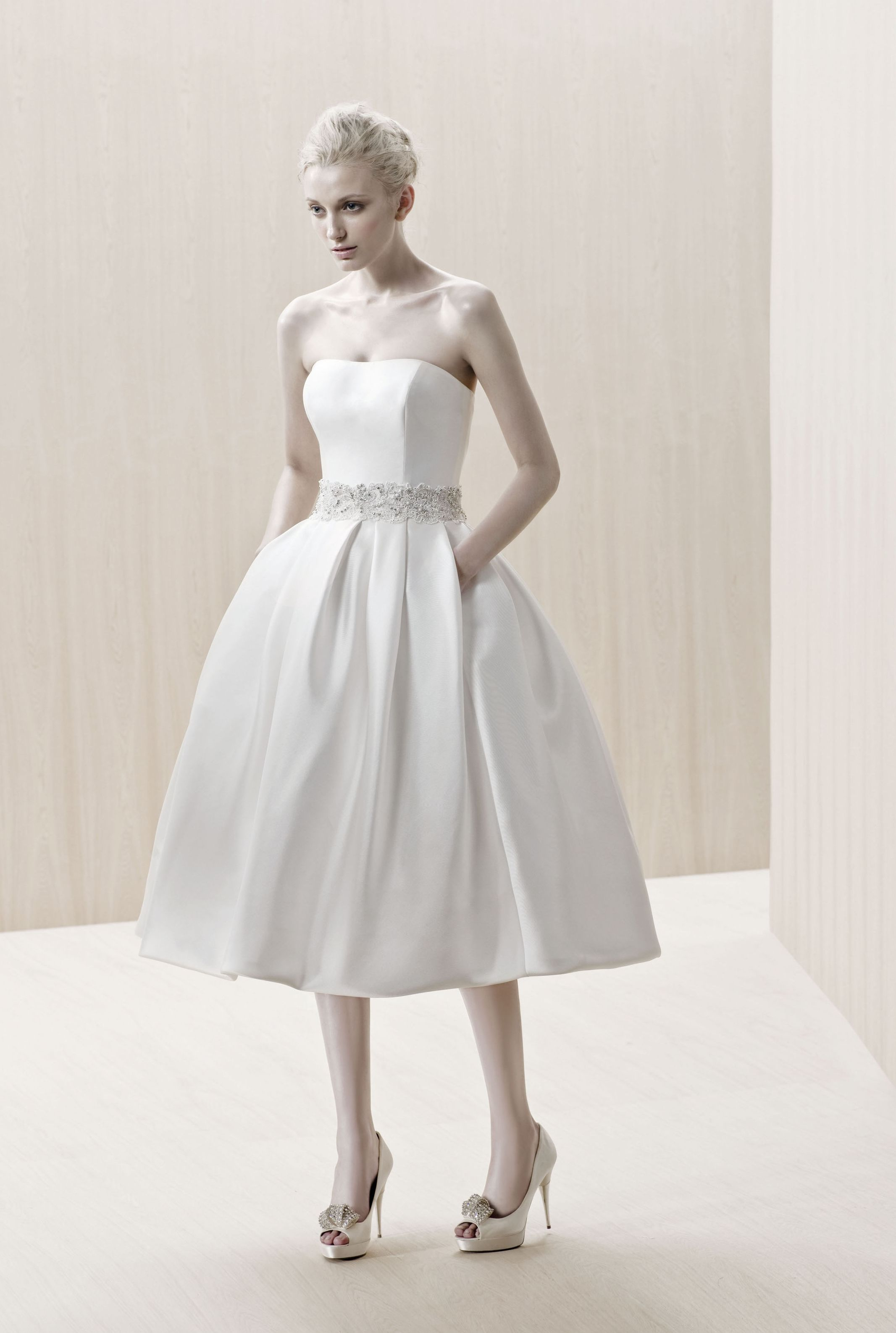 Tea length mikado dress by blue by enzoani bridal fashion