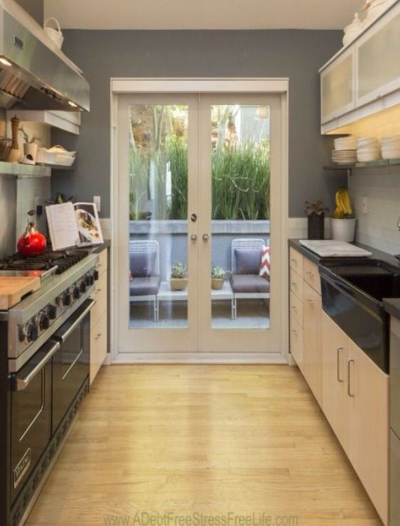 Put French doors at end of a galley kitchen to open up to ...