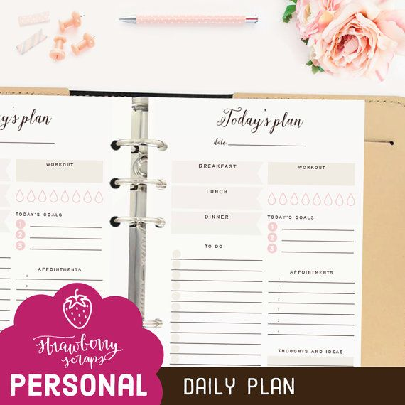 """Daily planner inserts: """"TODAY'S PLAN"""" Daily schedule 