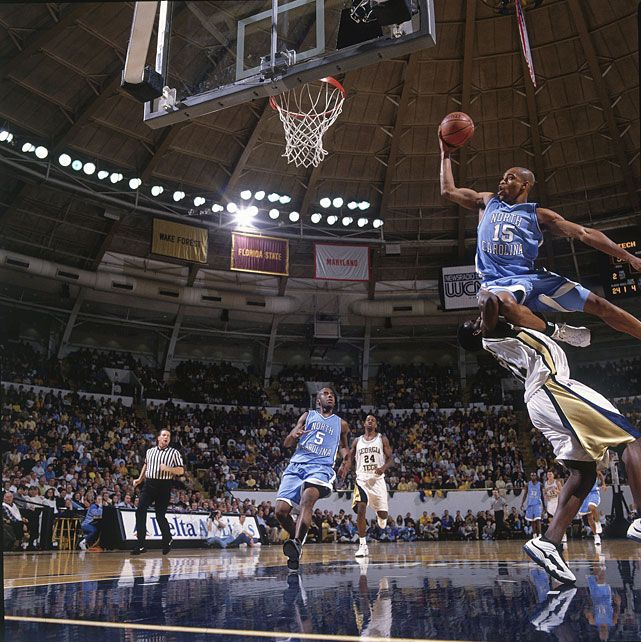 North Carolina guard Vince Carter drives strong to the
