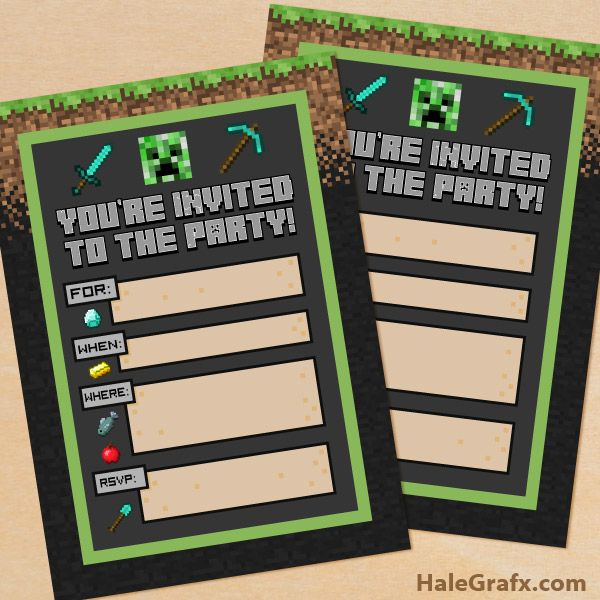 FREE Printable Minecraft Birthday party Invitation – Printed Birthday Invitations