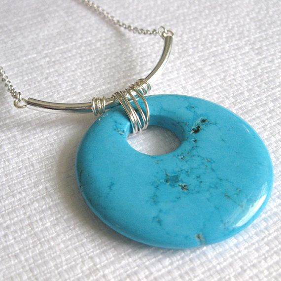 Big and bold pendant...love the color!    http://www.etsy.com/listing/91567982/large-turquoise-magnesite-pendant