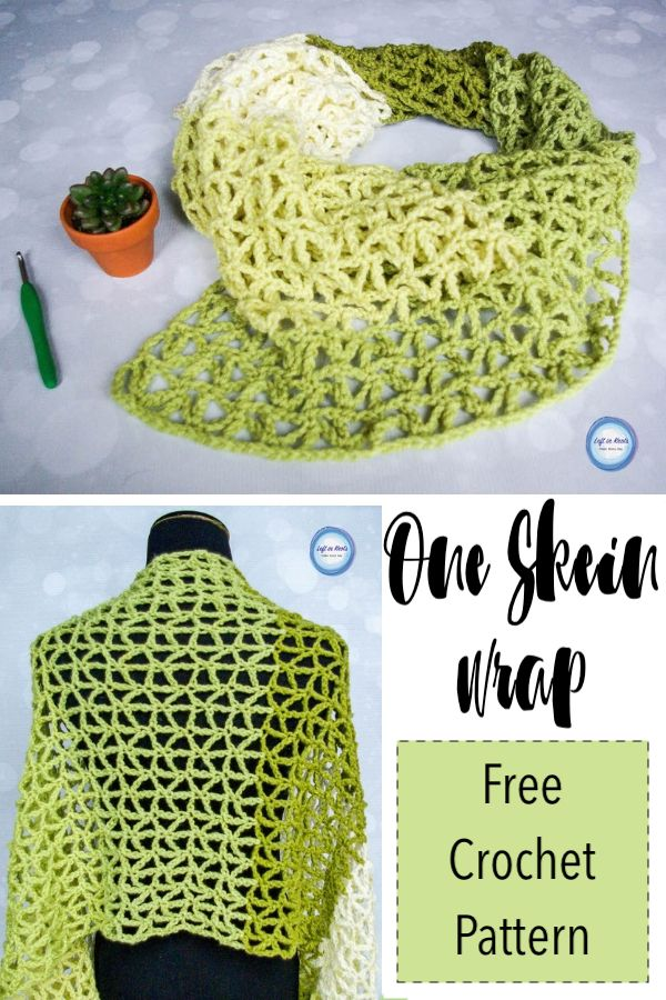 One Skein Wrap - Free Crochet Pattern Use just one skein of yarn to crochet this light weight summer wrap shawl.  Triangle mesh creates a modern yet lacy look.  Use Caron Cakes or your favorite worsted weight yarn to add this piece to your summer wardrobe.