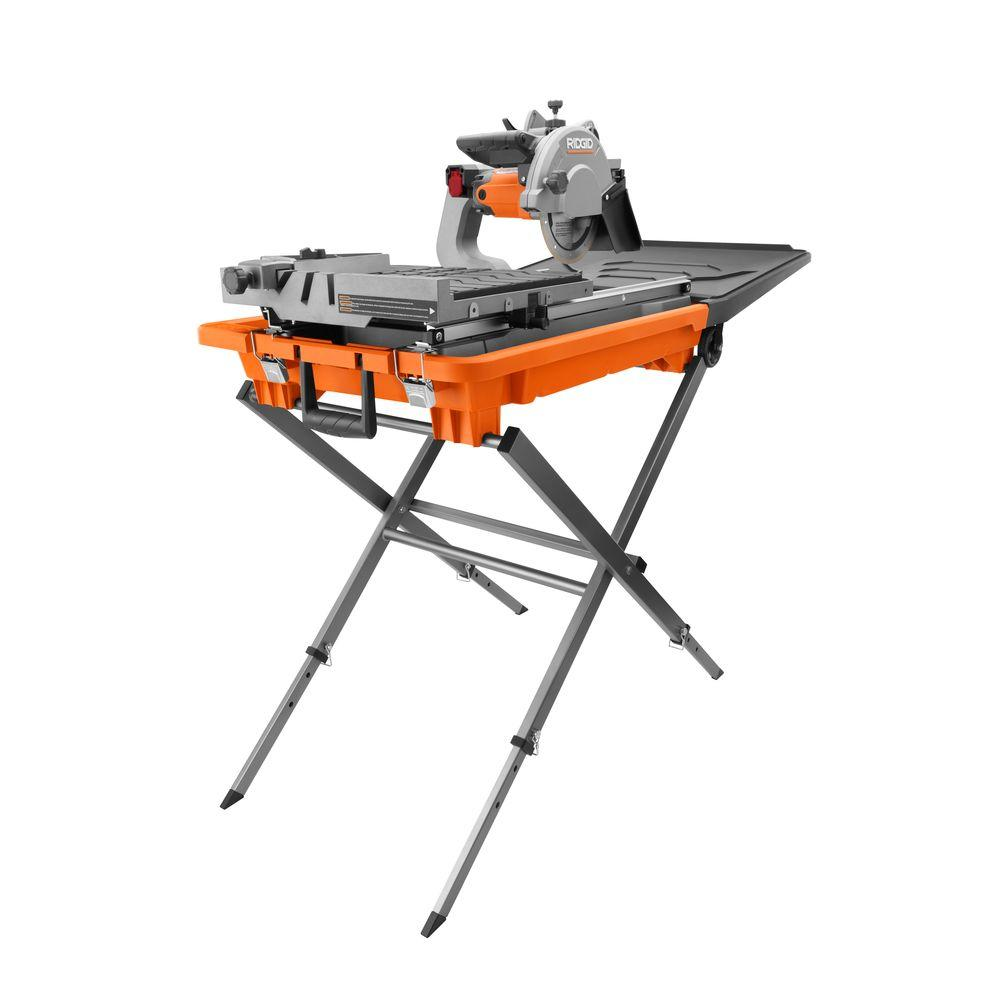 Ridgid 12 Amp Corded 8 In Wet Tile Saw With Stand R4040s The Home Depot Tile Saw The Home Depot Best Table Saw