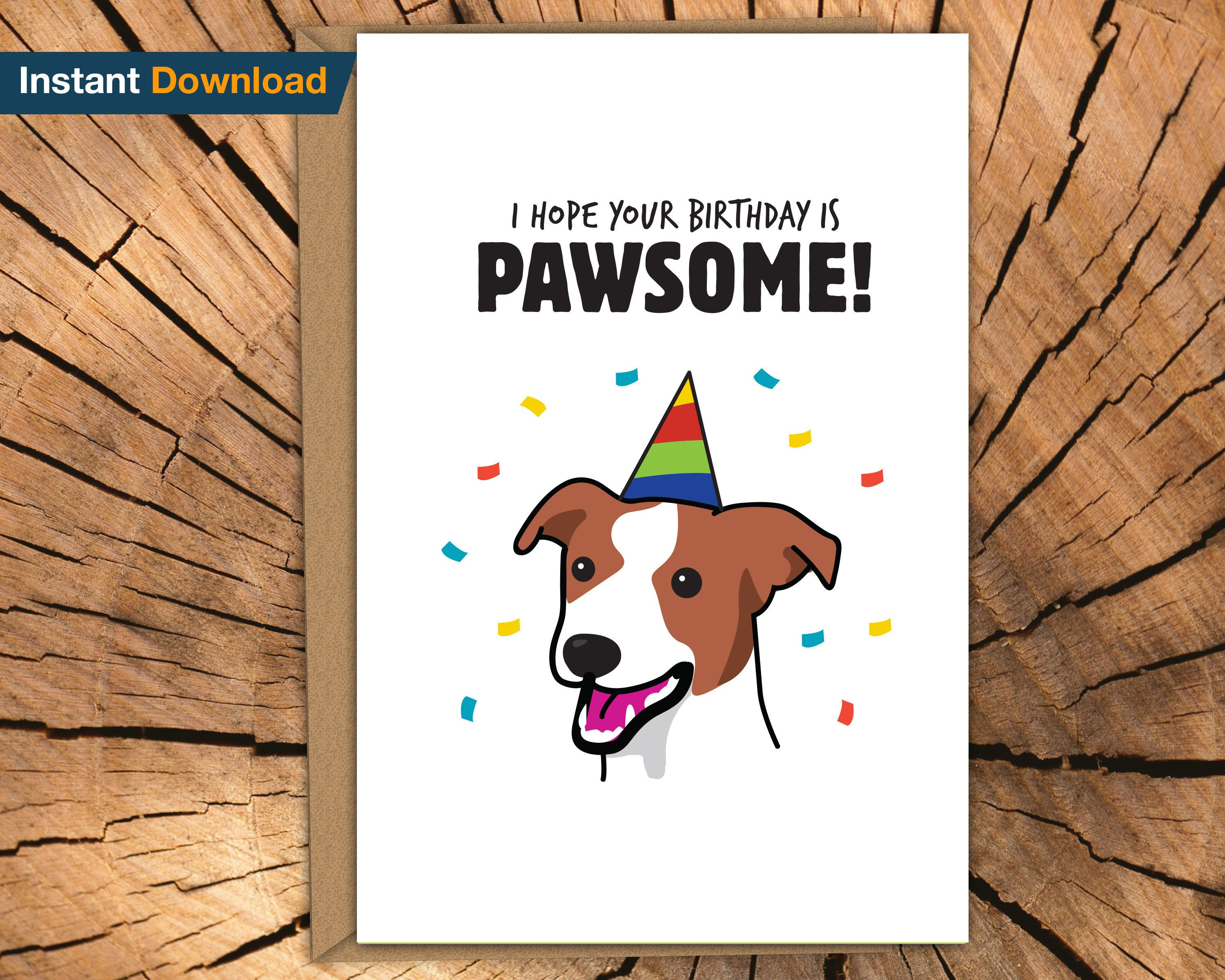 Printable Jack Russell Birthday Card Dog Puppy Cute Funny Jrt Terrier Fun Dog Mom Dog Dad Rescue Dog Birthday Card Jack Russell Foster Dog Mom