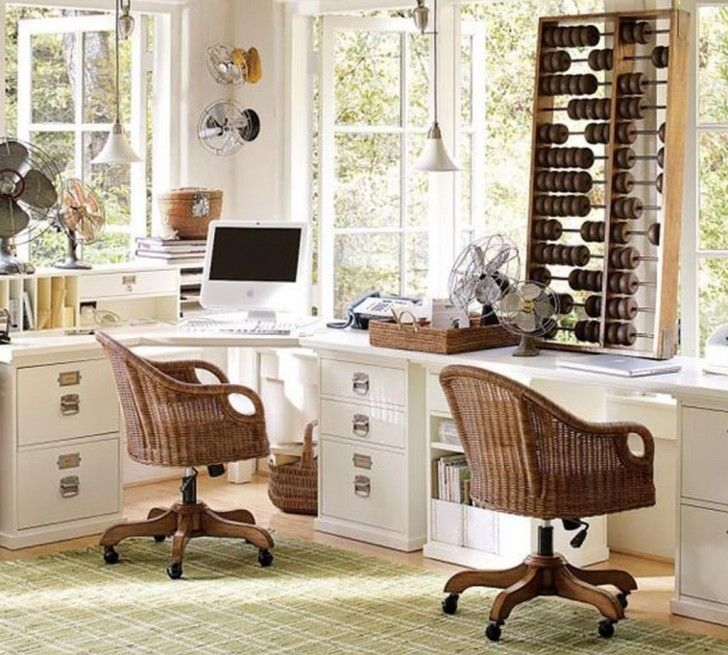 Furniture Corner Desk For Two People In White Rattan Made Chairs