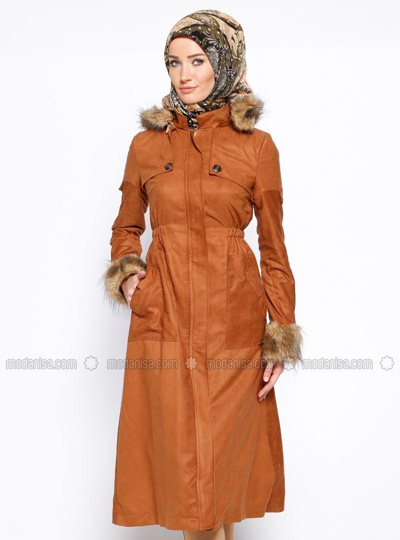 a1a5739e8e97 Manteau Suede capuche - Tabac, Caban. Modanisa votre magasin de mode  islamique modeste en ligne pour les femmes voilées. Commencez votre achat.