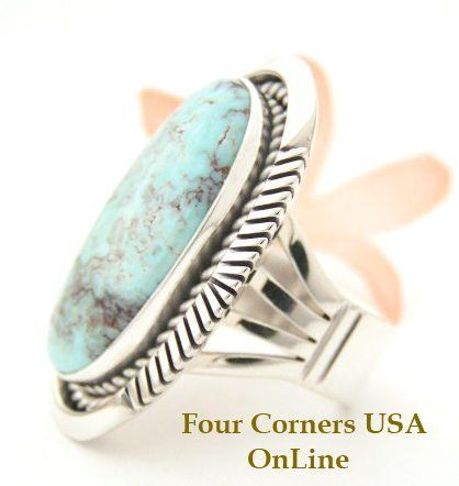 Size 8 Dry Creek Turquoise Large Stone Ring Eugene Belone Navajo Silver Jewelry NAR1465