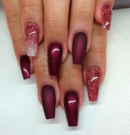 hottest photographs nail art glitter maroon tips in 2020