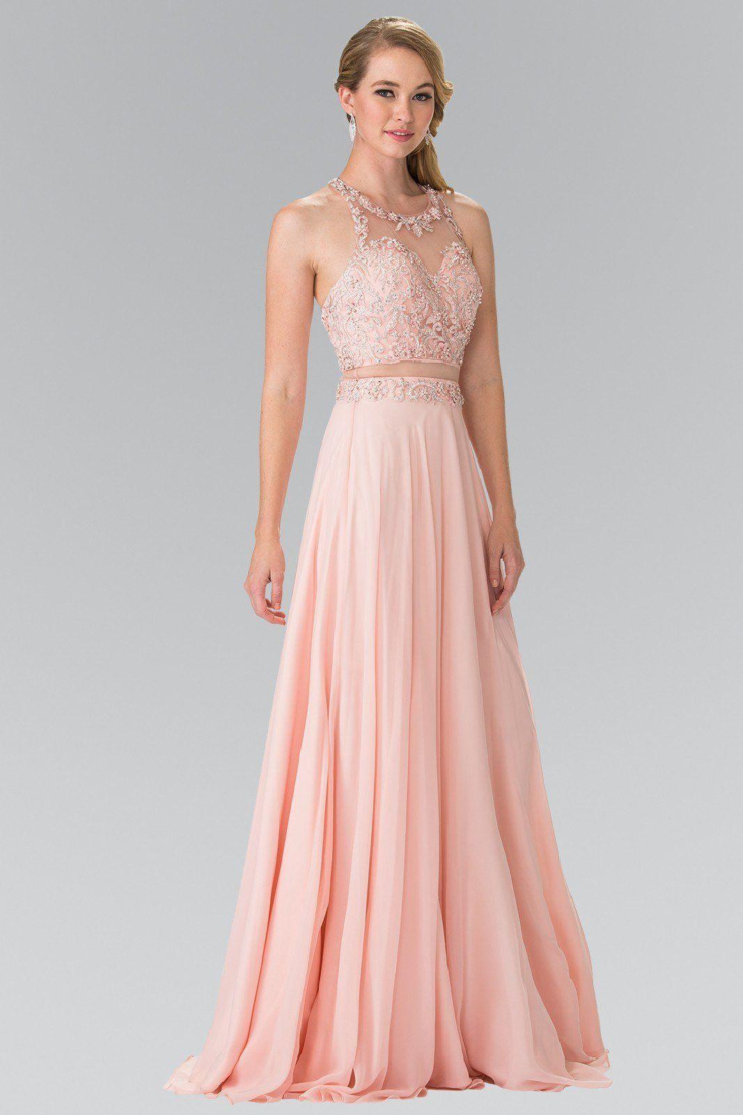 Sexy illusion piece cheap long chiffon prom dress glbl