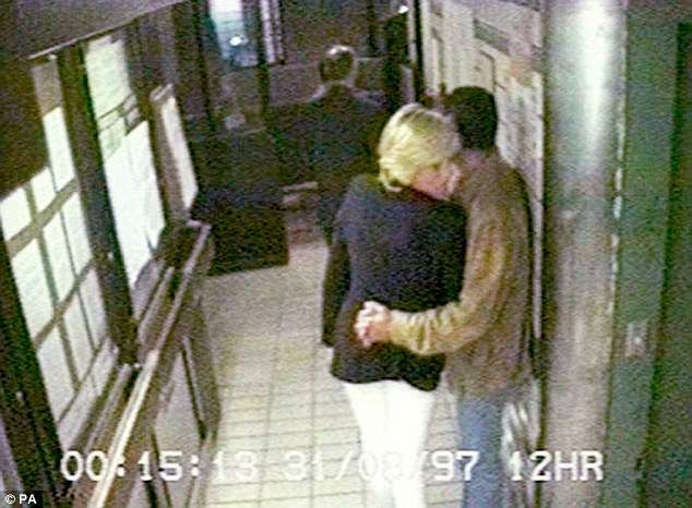 12.14am Diana and Dodi are inside the rear entrance of the Ritz waiting for the car. Dodi has his arm around Diana's waist. Rees-Jones looks out into the street