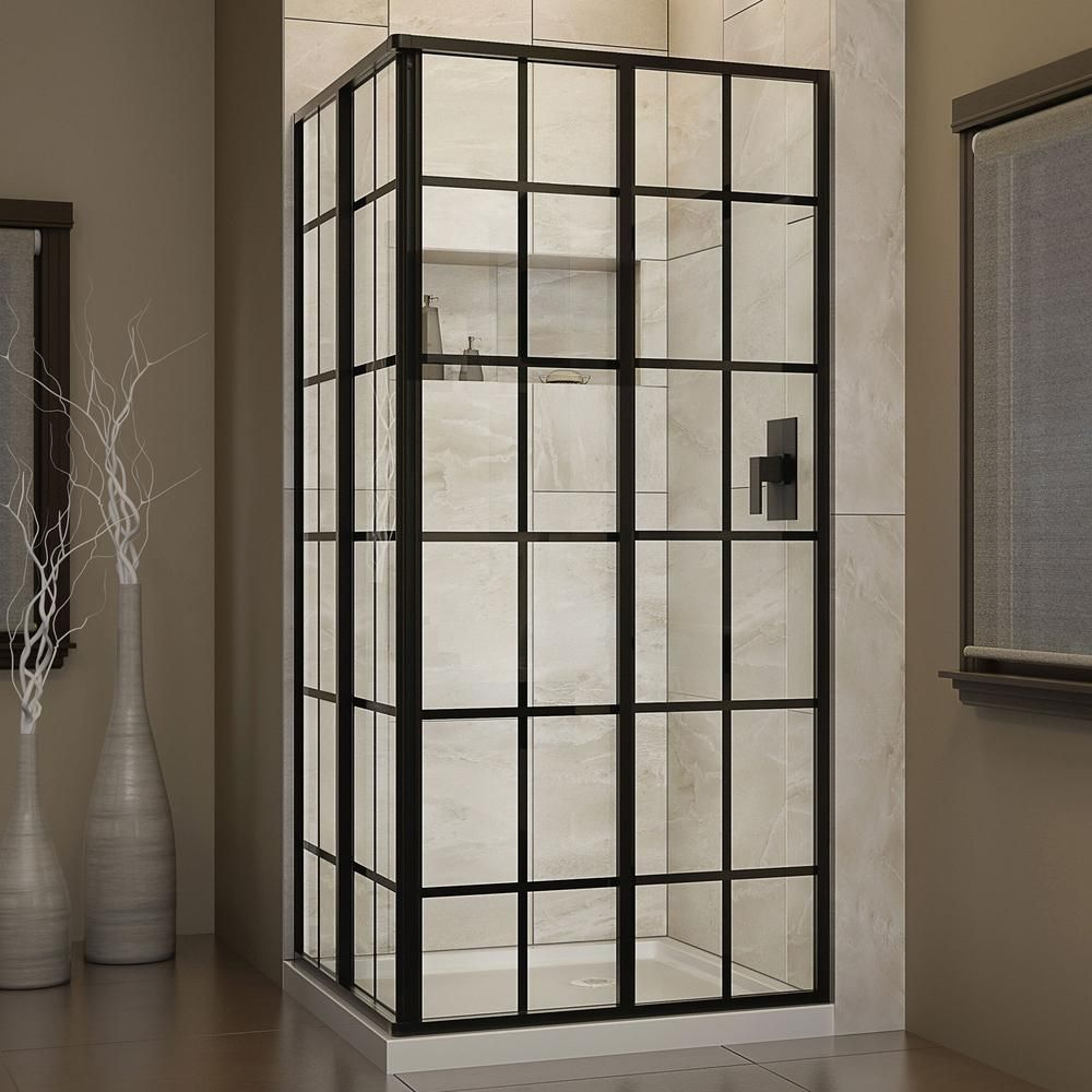 Dreamline french corner 34 1 2 in x 34 1 2 in x 72 in for Black sliding glass doors