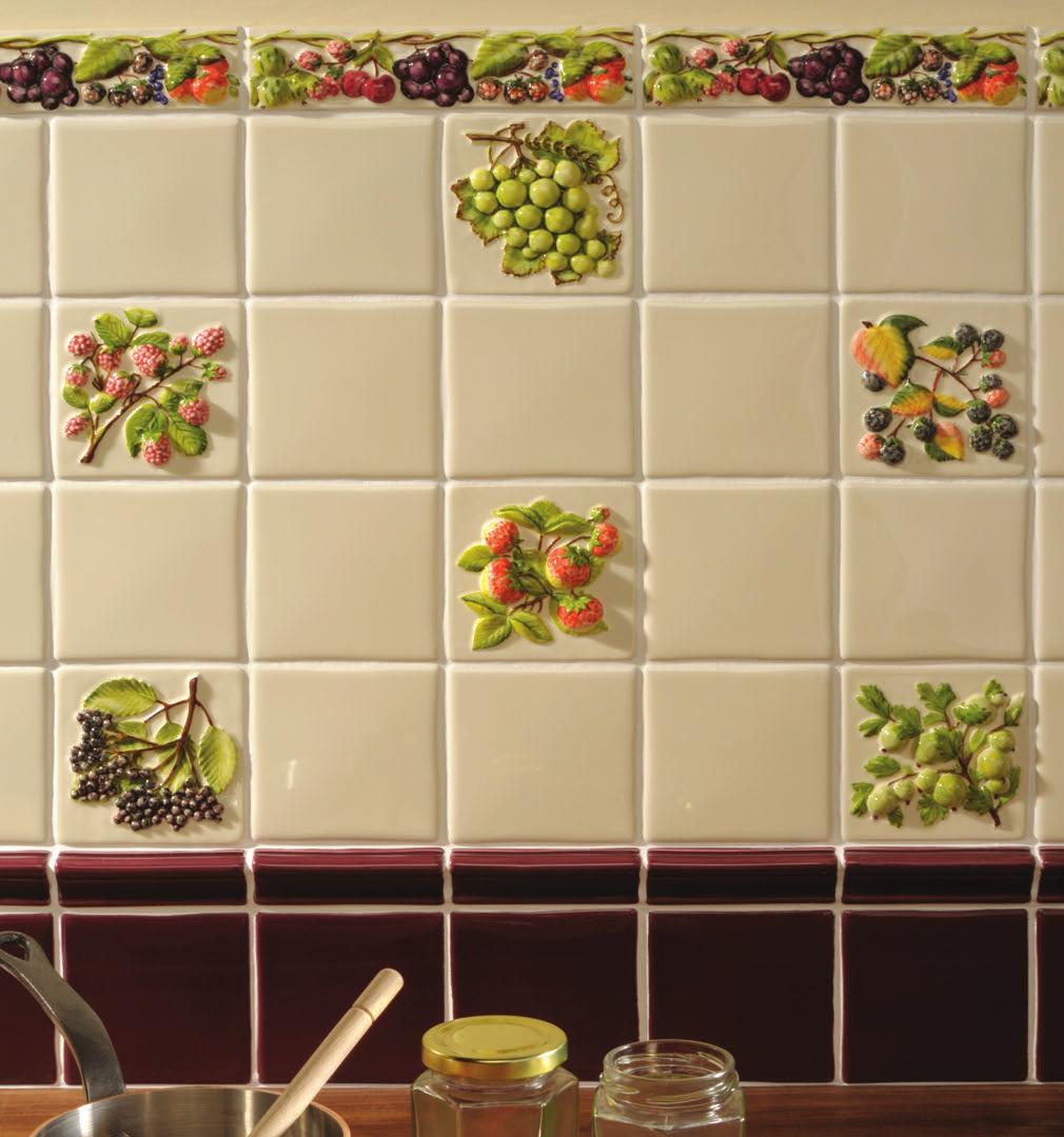 "Kitchen Tiles Fruits Vegetables coupe de fruits display 10x10 (4"") 