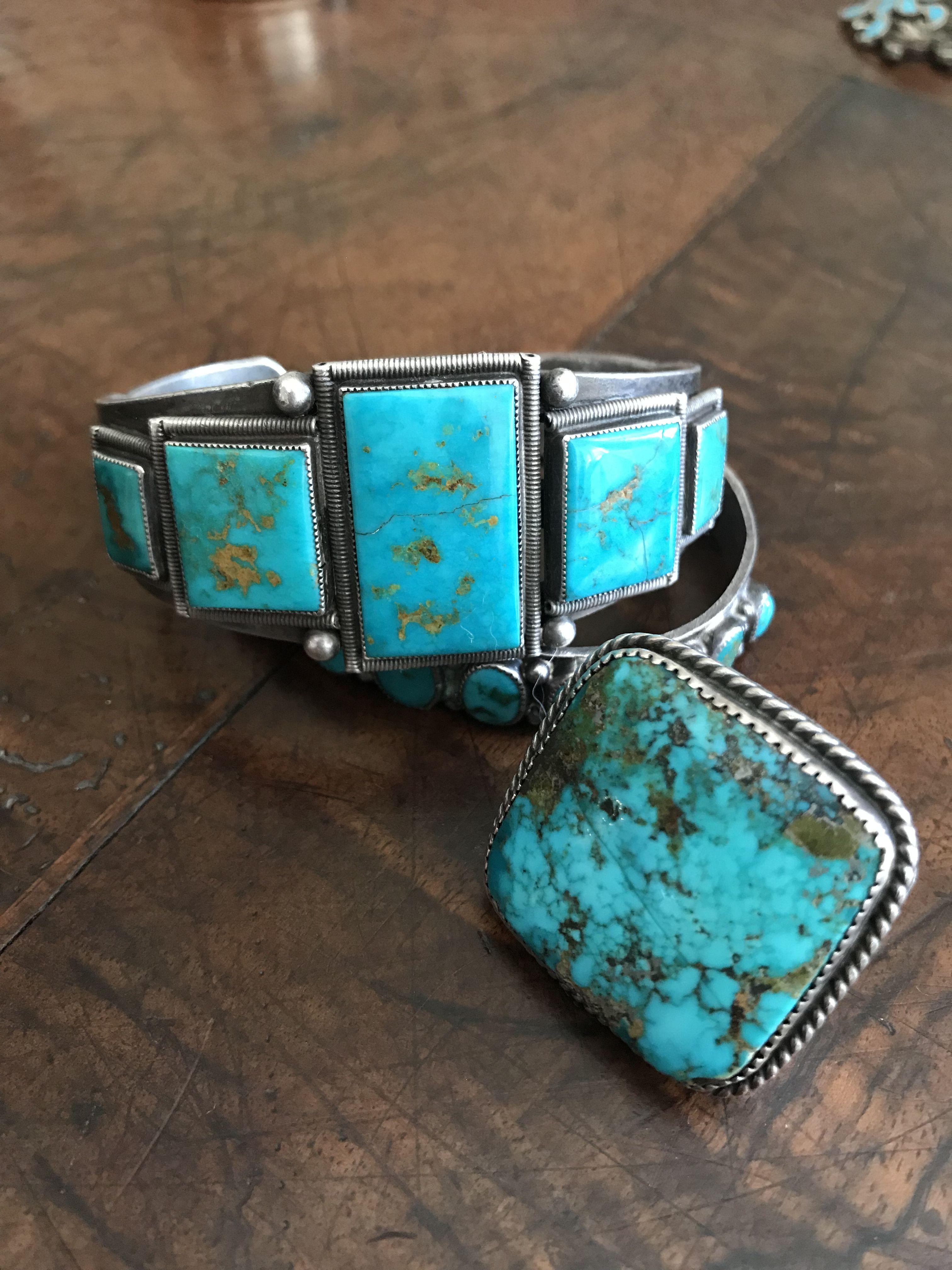 Blue Gem Turquoise Bracelet & ring FOR SALE   Native ...