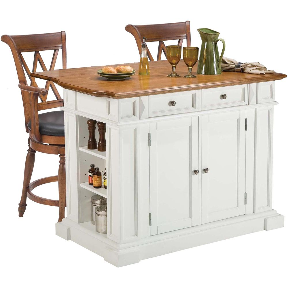 kitchen island set with stools home styles white oak kitchen island and two deluxe bar 8214