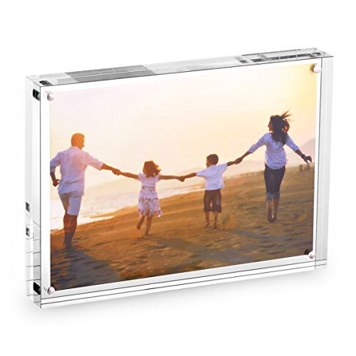 Hesin 5 By 7 Inch Clear Acrylic Photo Frame Thickness 24mm Stable Tabletop Magnet Fr Double Sided Picture Frame Acrylic Picture Frames Frameless Picture Frames