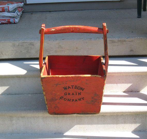 Large Primitive 1800s Wooden Grain Bucket Yoke Handle
