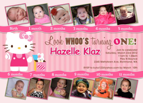 Hello Kitty Pink 12 photos First Birthday Custom Birthday – Personalized Hello Kitty Birthday Invitations