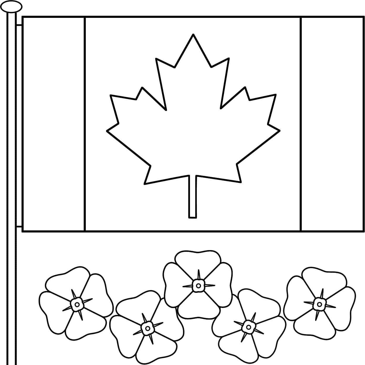 Memorial day flag coloring pages - This Canadian Flag With Poppies Coloring Page Features A Picture Of The Canadian Flag And Five Poppies To Color For Remembrance Day