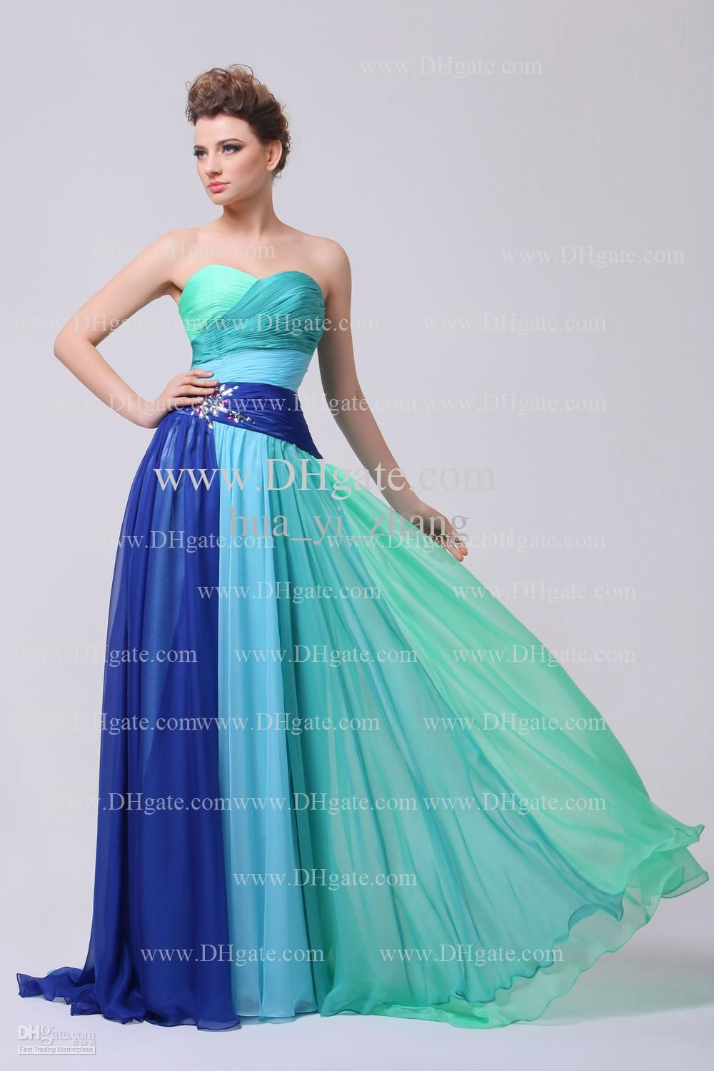 Colorful Prom Dresses 2015 Sweetheart Pleated Bodice Beaded ...