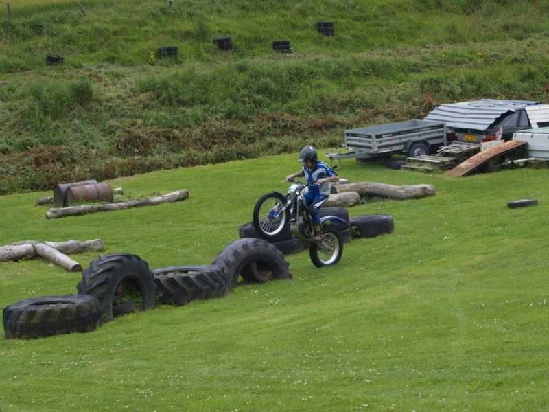 Tires And Barrels For Obstacles Dirt Bike Track Trial Bike